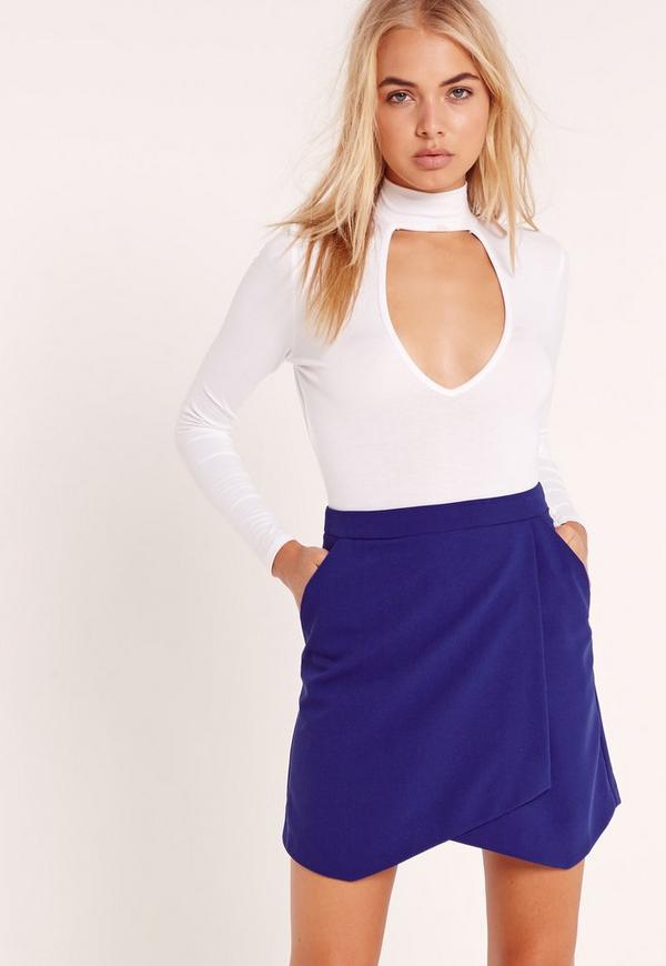 Asymmetric Wrap Hem Mini Skirt Cobalt Blue