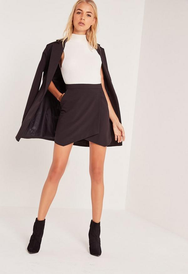 Asymmetric Wrap Hem Mini Skirt Black