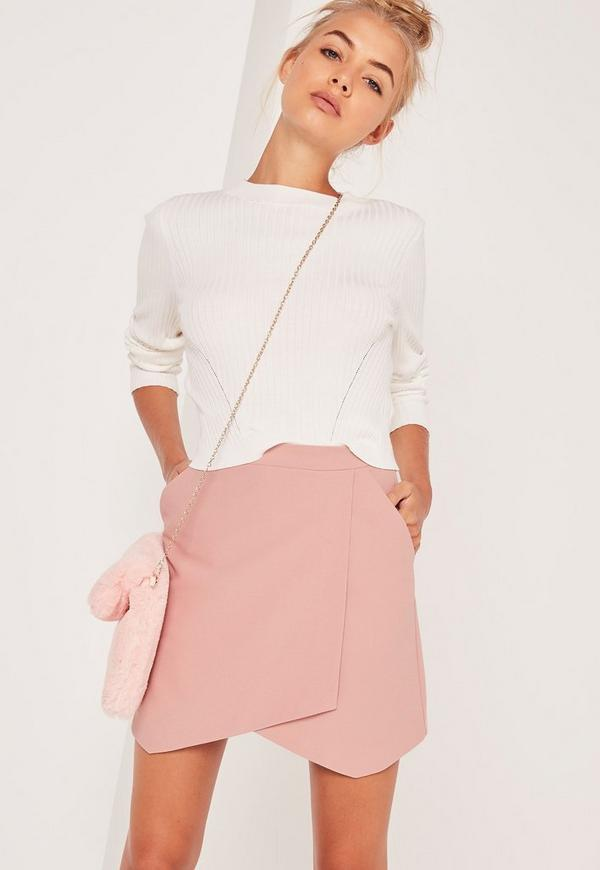Asymmetric Wrap Hem Mini Skirt Pink