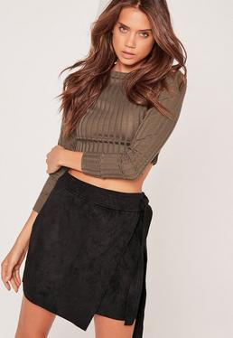 Faux Suede Side Tie Mini Skirt Black