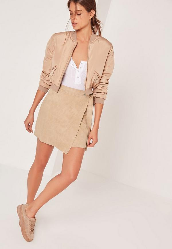 Faux Suede Side Tie Mini Skirt Camel
