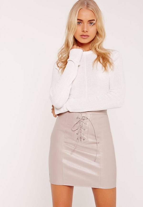 Eyelet Lace Up Mini Skirt Grey