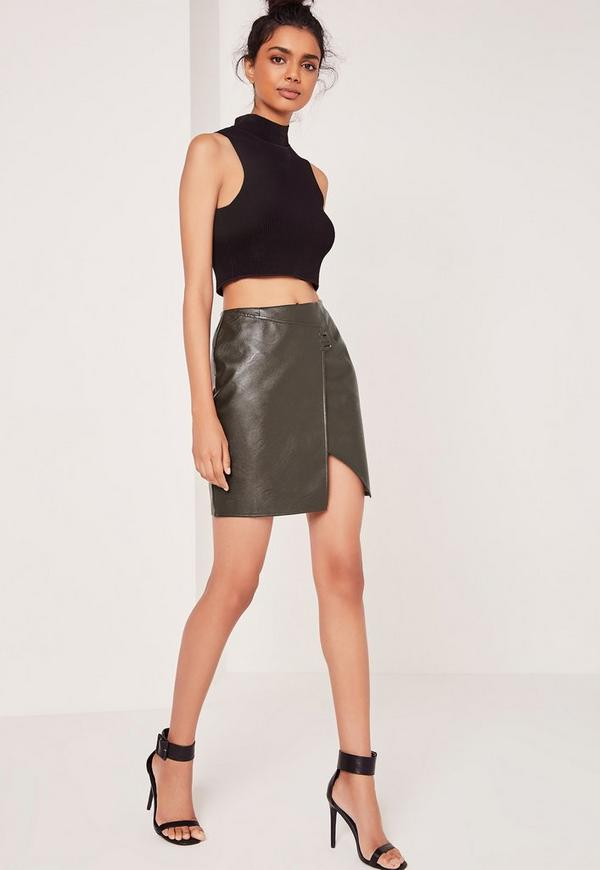 Khaki Asymmetric Stitch Detail Faux Leather Mini Skirt