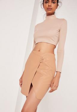 Camel Asymmetric Stitch Detail Faux Leather Mini Skirt