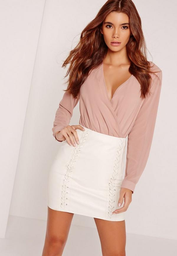 Whipstitch Front Faux Leather Mini Skirt White