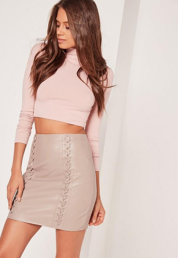 Whipstitch Front Faux Leather Mini Skirt Grey