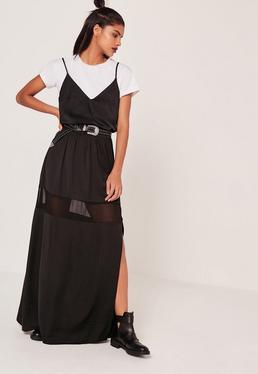 Mesh Insert Maxi Skirt Black