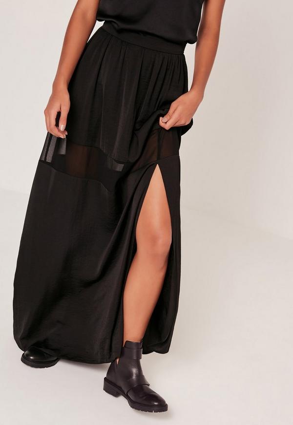 jupe longue noire fendue bande tulle missguided. Black Bedroom Furniture Sets. Home Design Ideas