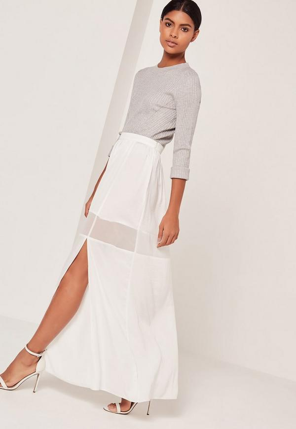 mesh insert maxi skirt white missguided australia