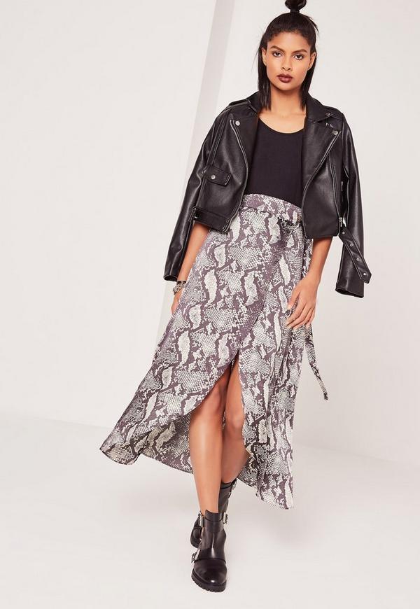Snake Print Maxi Skirt Multi