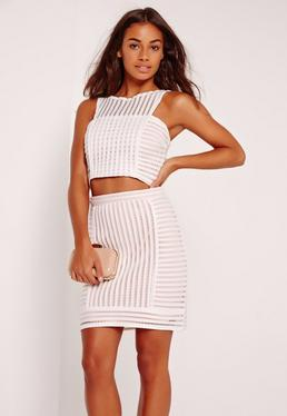 Stripe Airtex Mini Skirt White
