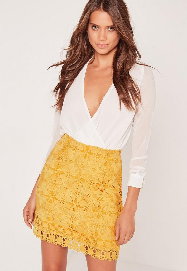 Lace Mini Skirt Yellow