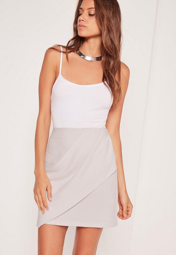 Drape Front Panel Mini Skirt Grey