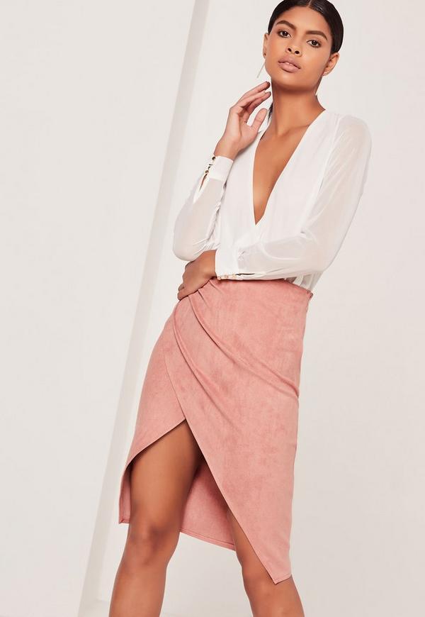 Faux Suede Asymmetric Midi Skirt Pink