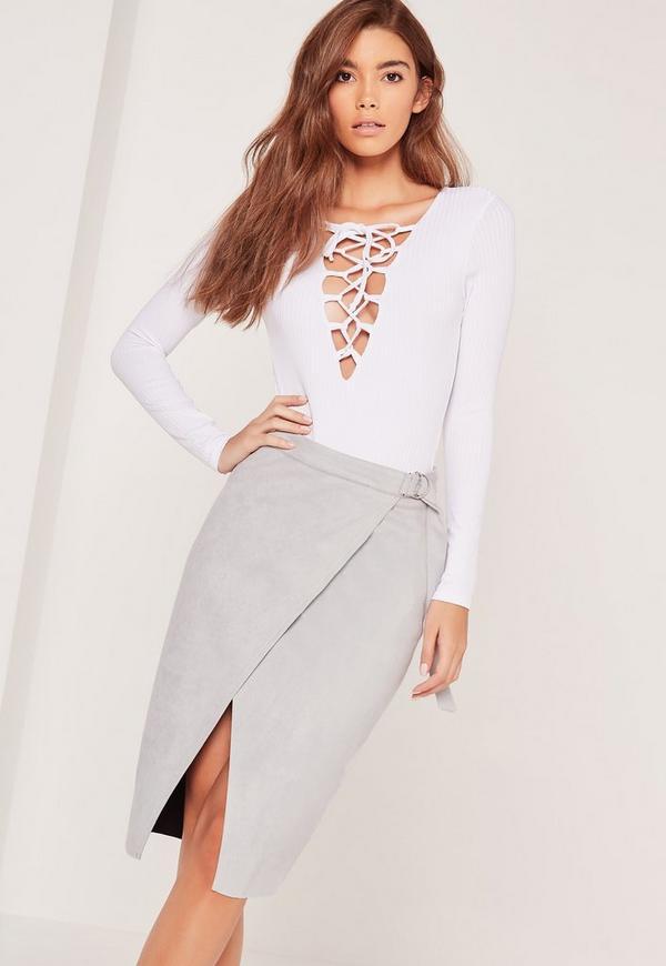 Belt Tie Faux Suede Midi Skirt Grey