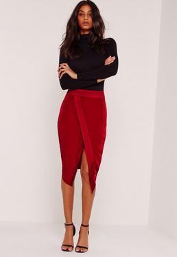Asymmetric Satin Panel Skirt Red