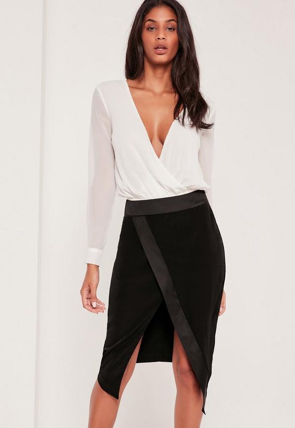 Asymmetric Satin Panel Skirt Black