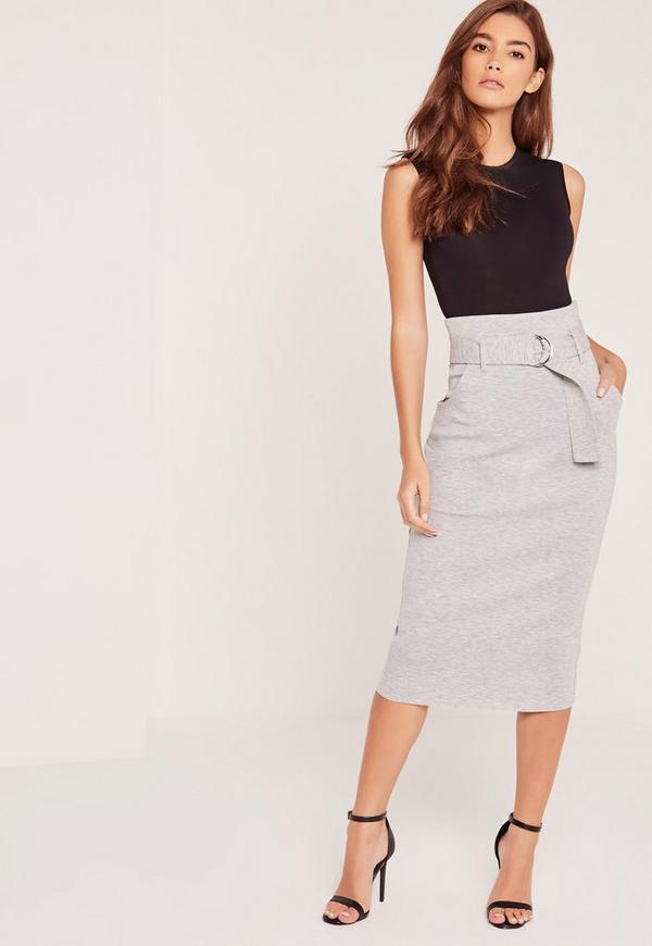 Belted Ponte Midi Skirt Grey