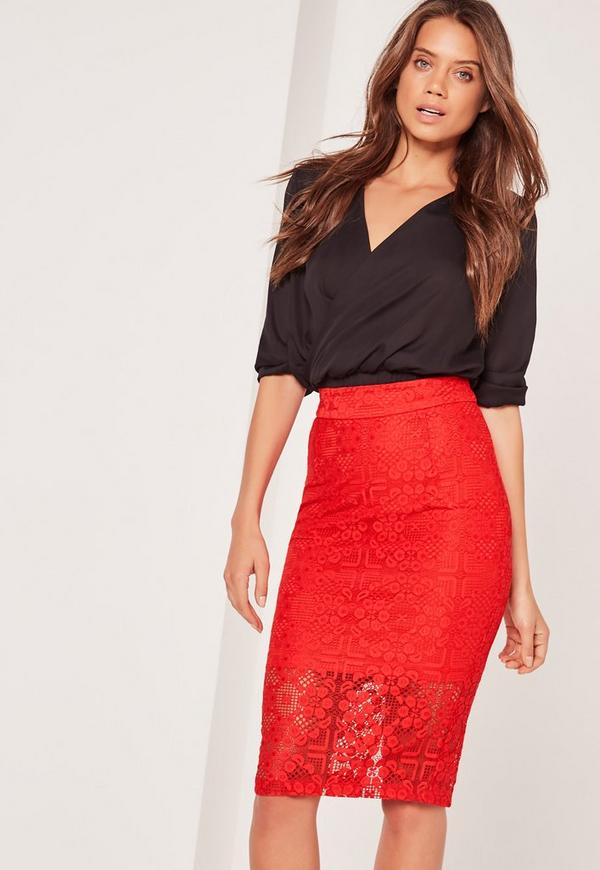 Lace Midi Skirt Red