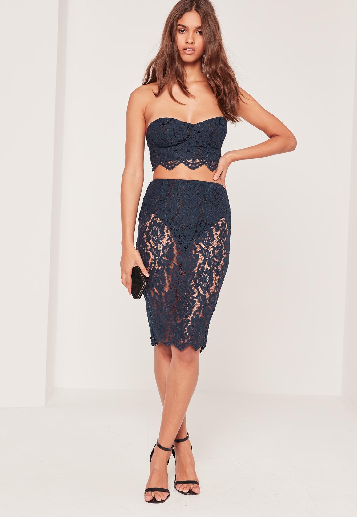 Lace Knicker Insert Midi Skirt Blue | Missguided