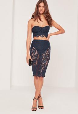Lace Knicker Insert Midi Skirt Blue
