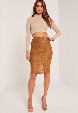 Orange Floral Embroidered Midi Skirt