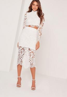 Crochet Lace Midi Skirt White