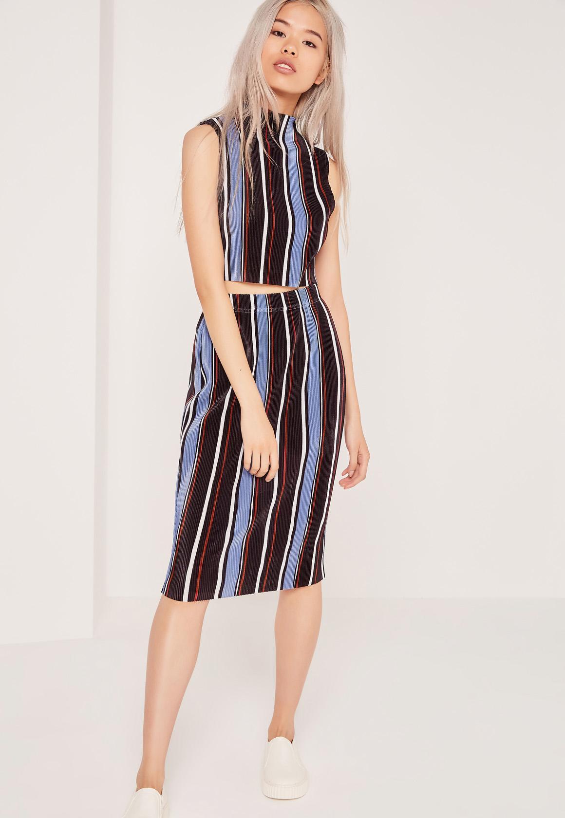 Crinkle Stripe Midi Skirt Multi  1b17e701f