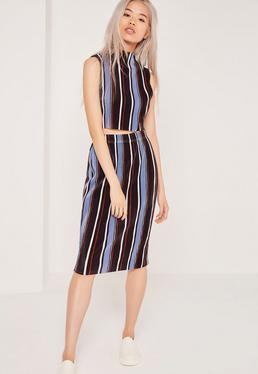 Crinkle Stripe Midi Skirt Multi
