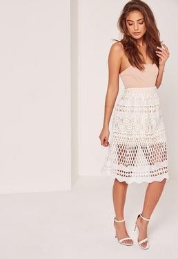 White Full Lace Midi Skirt