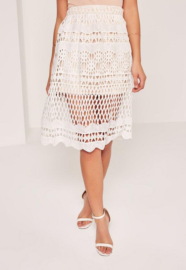 White Full Lace Midi Skirt - Missguided