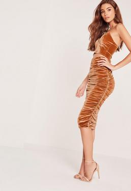 Velvet Ruched Side Midi Skirt Orange