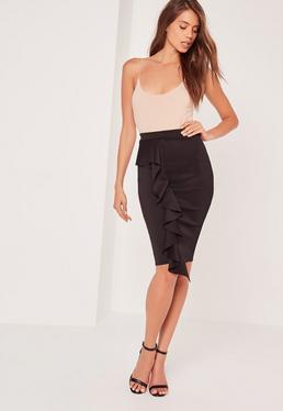 Frill Front Scuba Midi Skirt Black
