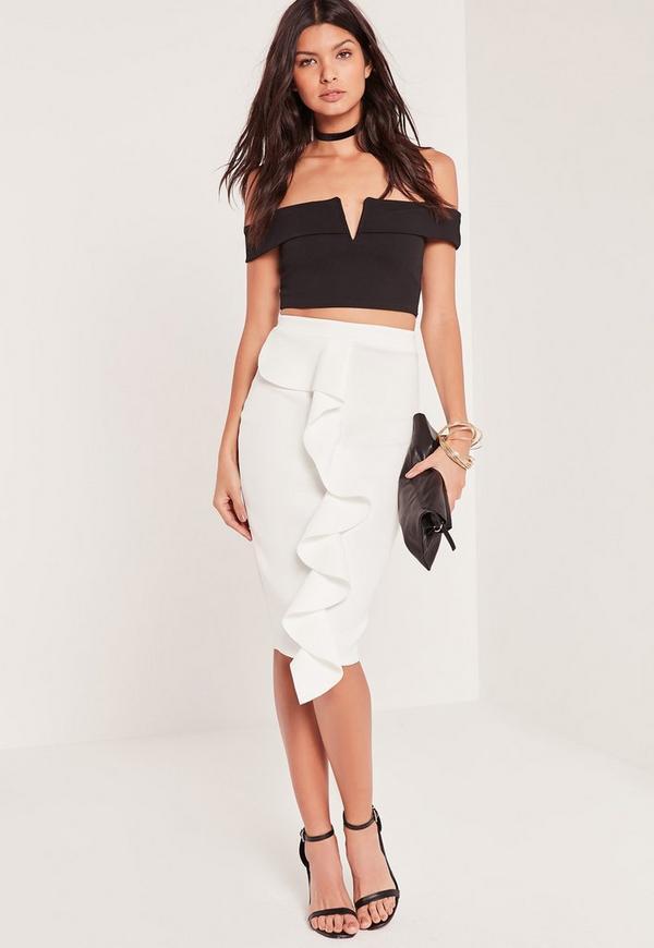 Frill Front Scuba Midi Skirt White