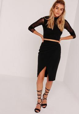 Asymmetric Ruched Side Midi Skirt Black