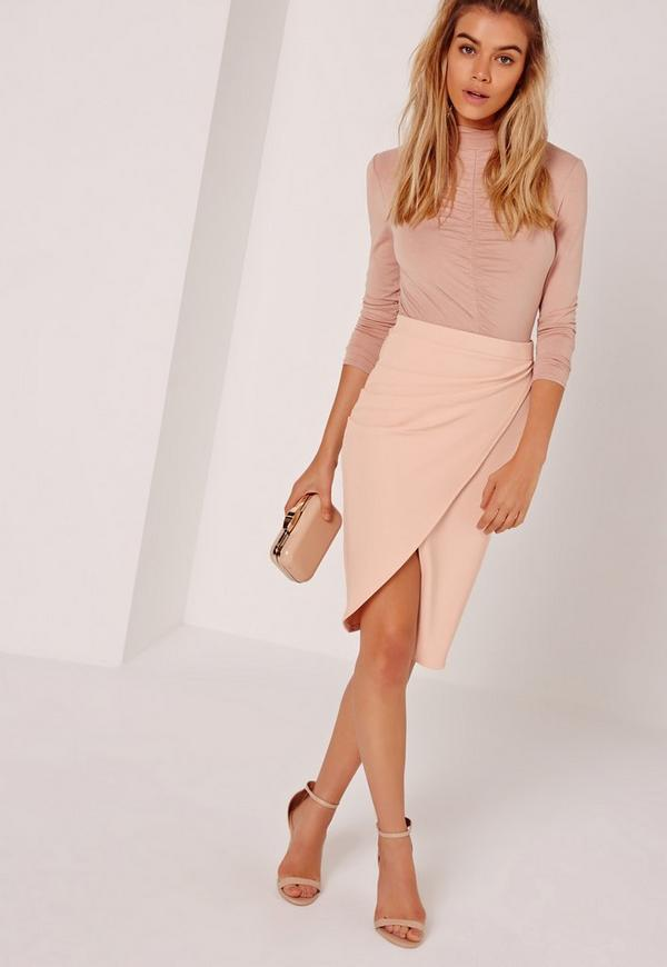 Asymmetric Ruched Side Midi Skirt Nude