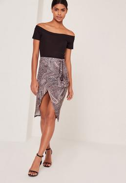 Paisley Print Asymmetric Wrap Skirt Multi