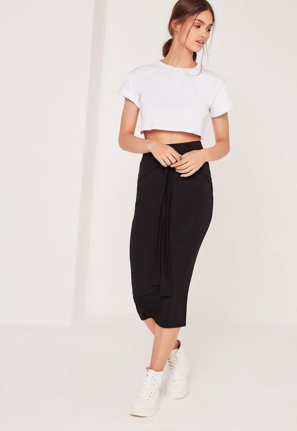 Tie Front Midi Skirt Black