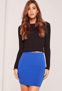 Stretch Crepe Mini Skirt Blue