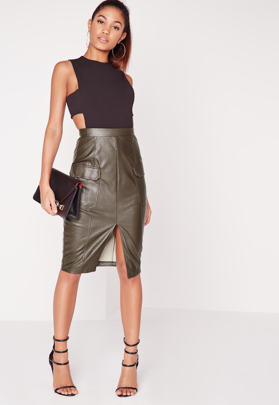 Faux Leather Pocket Pencil Skirt Khaki | Missguided