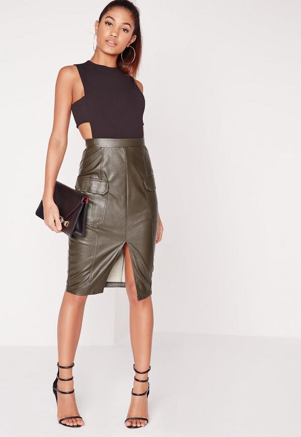 Faux Leather Pocket Pencil Skirt Khaki