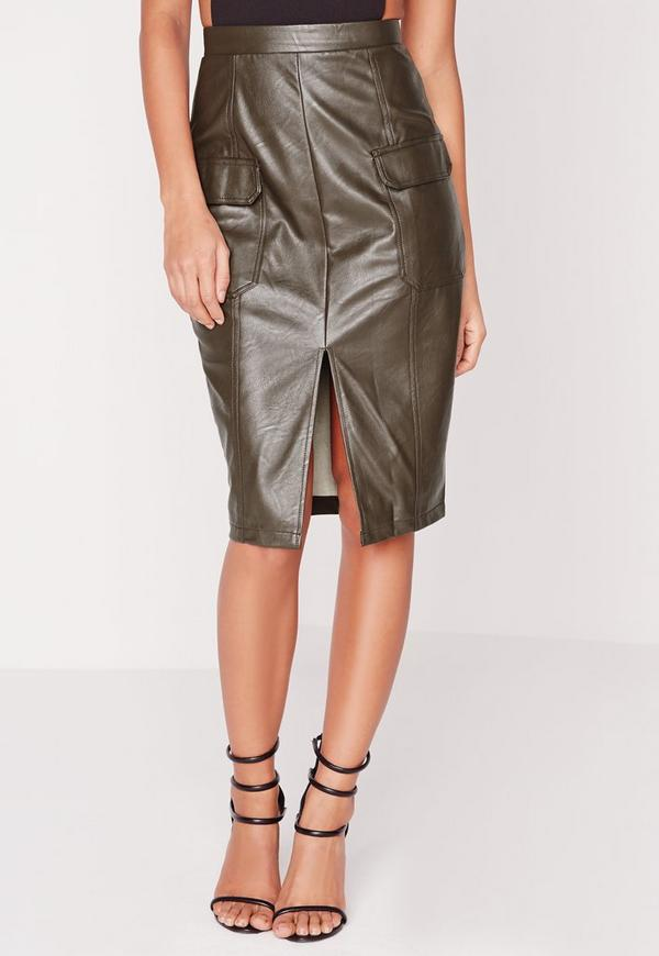 faux leather pocket pencil skirt khaki missguided