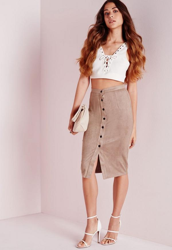 Button Through Faux Suede Midi Skirt Taupe