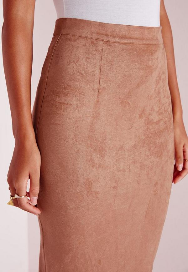 longline faux suede midi skirt camel missguided