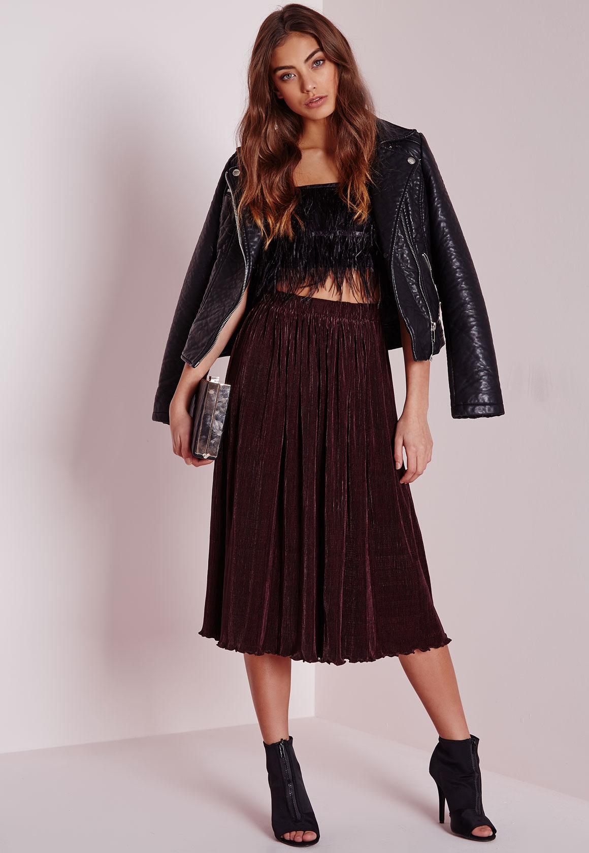 Micro Pleated Midi Skirt Plum - Skirts - Missguided