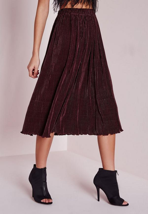 Micro Pleated Midi Skirt Plum | Missguided