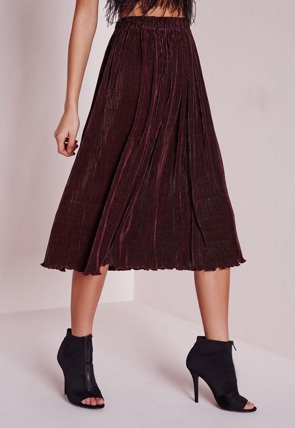micro pleated midi skirt plum missguided