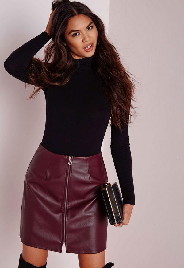 Zip Front Faux Leather A Line Skirt Burgundy - Skirts - A-Line ...