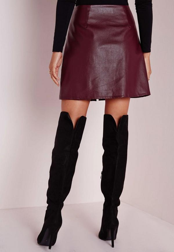 zip front faux leather a line skirt burgundy missguided