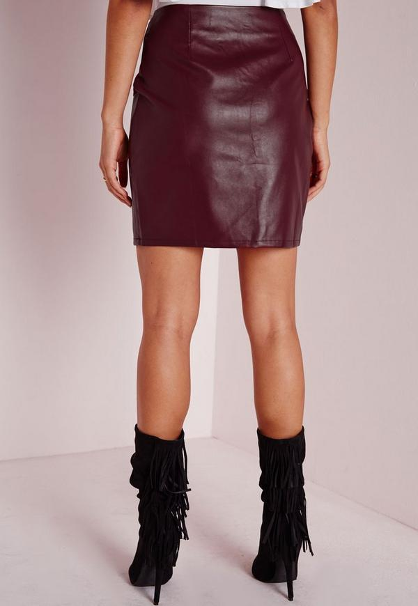 faux suede and leather a line skirt burgundy missguided